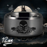 Silver Tungsten Submariner Skull and Dolphin Ring