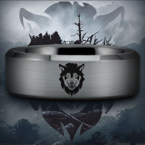 Silver Tungsten Wolf Ring