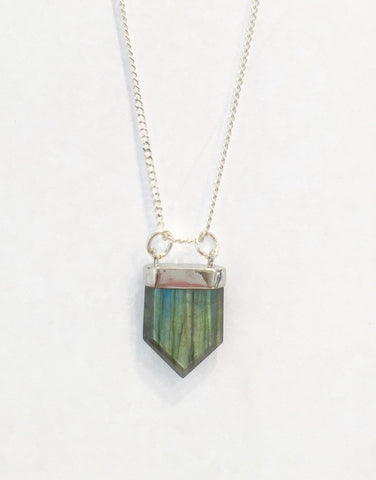 Labradorite Silver Point Pendant