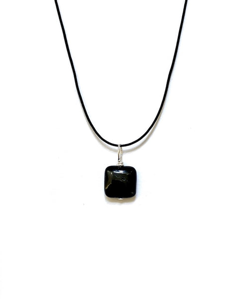 TOURMALINE - BLACK PENDANT - SQUARE