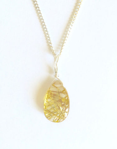 Rutilated Quartz Teardrop Pendant - High Grade
