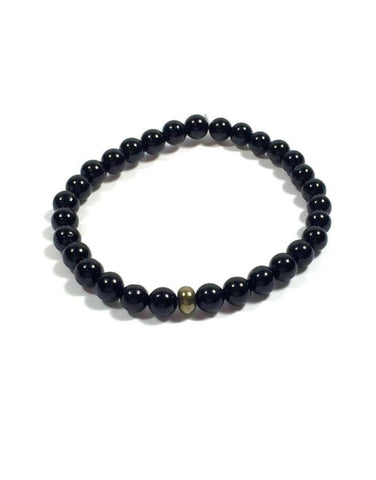 Black Tourmaline with Pyrite Rondelle Bracelet