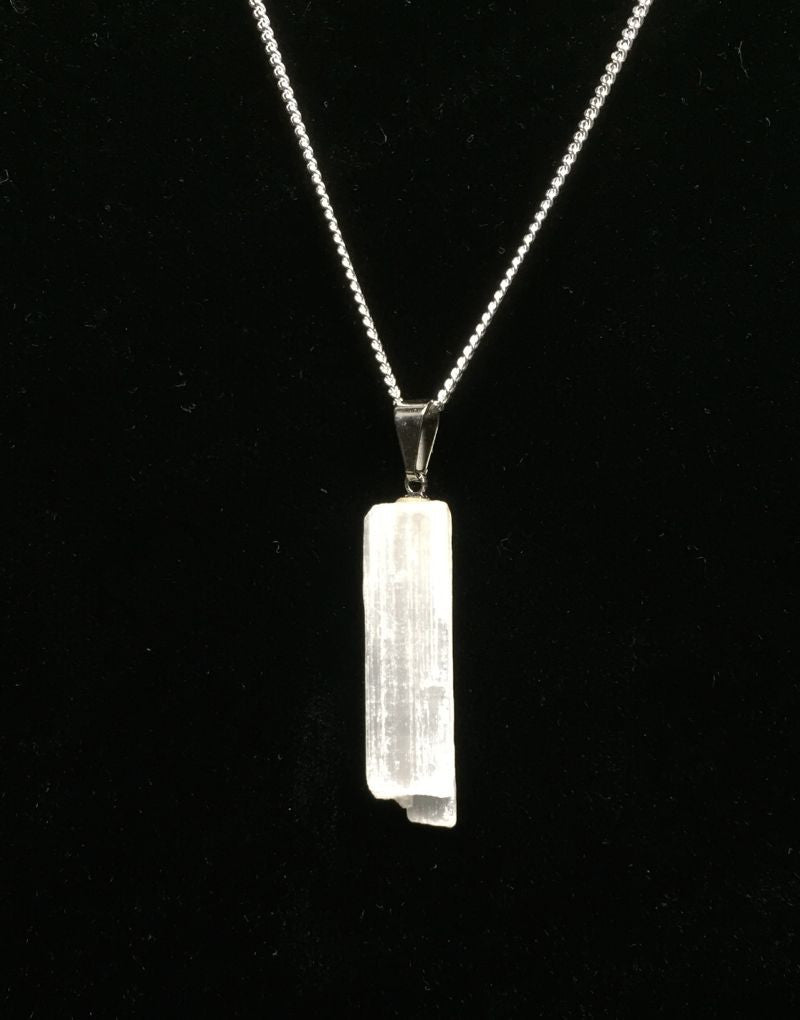 Raw selenite pendant the rock store raw selenite pendant mozeypictures Choice Image