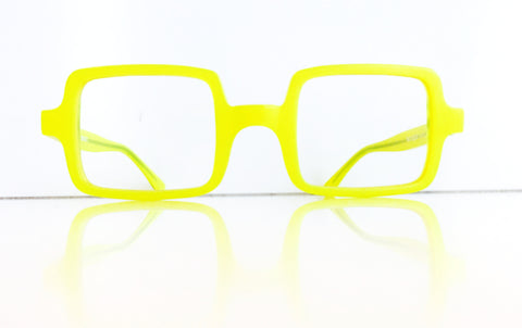 Bright yellow square optical frame