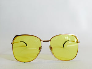 Oversized Gold Vintage Sunglasses yellow lenses m6018
