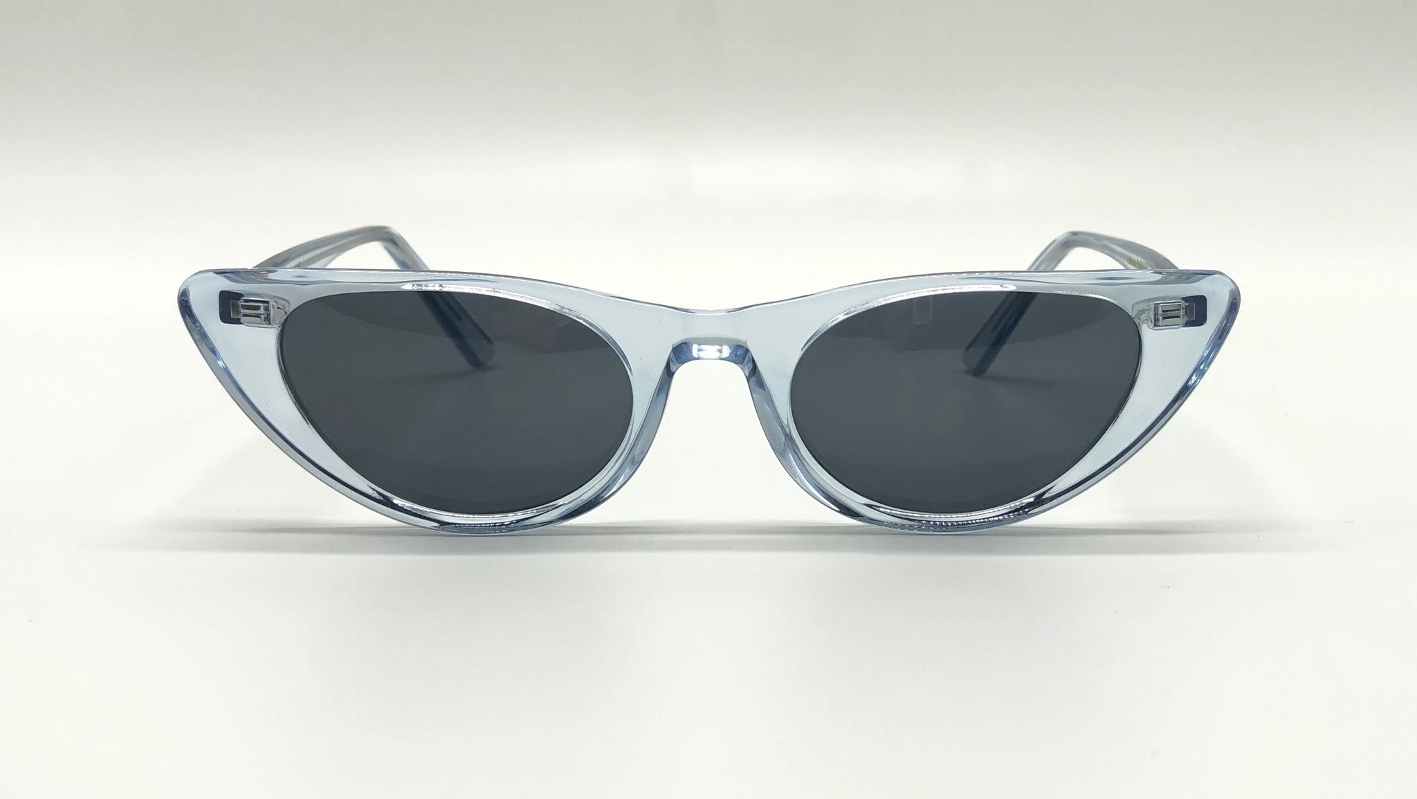 Semi-transparent blue cat eye sunglasses