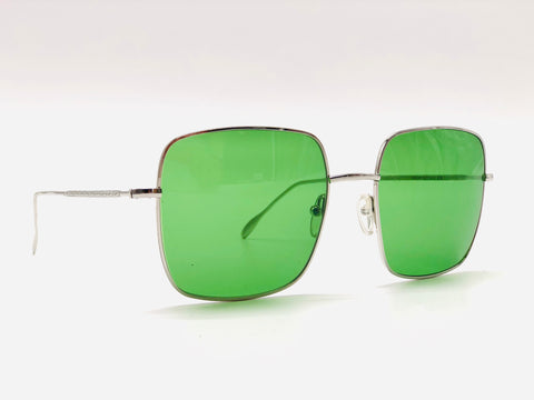 Oversized square sunglasses Silver Metal Green lenses