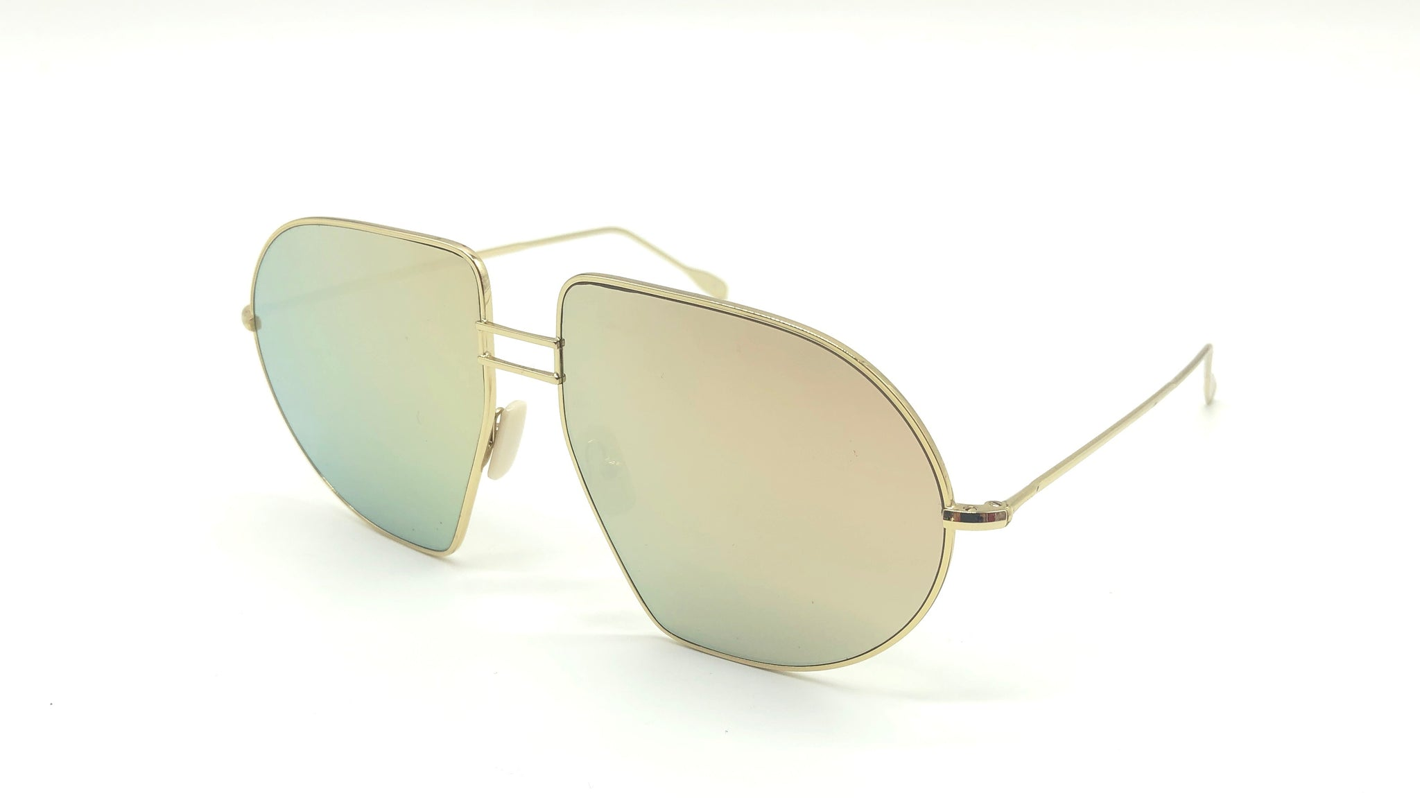 PILOT metal gold aviator-shaped gold mirrored lenses sunglasses