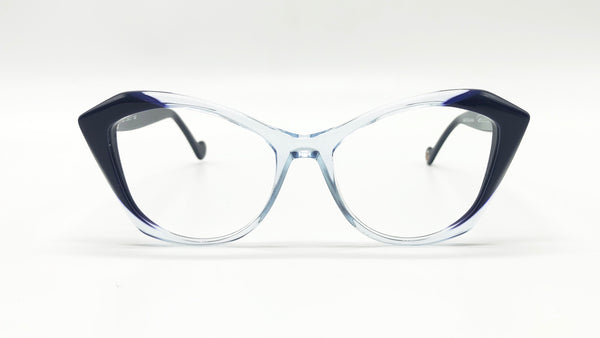 MINA semi-transparent clear/navi blue cat eye eyeglasses
