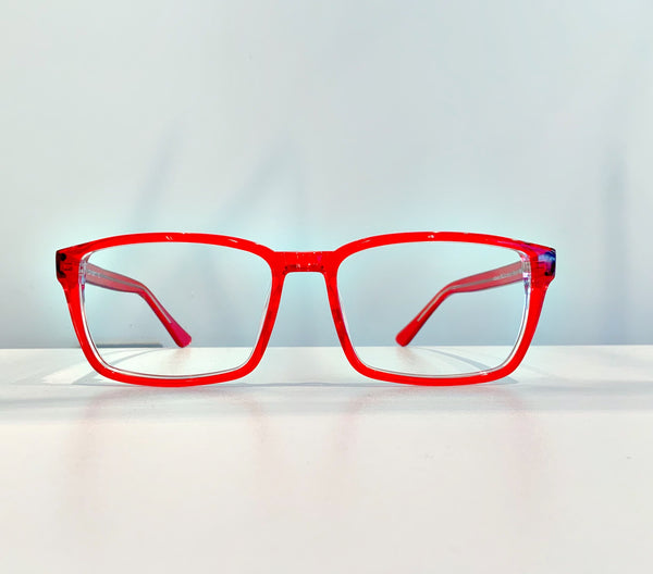 Oversized square red optical frame