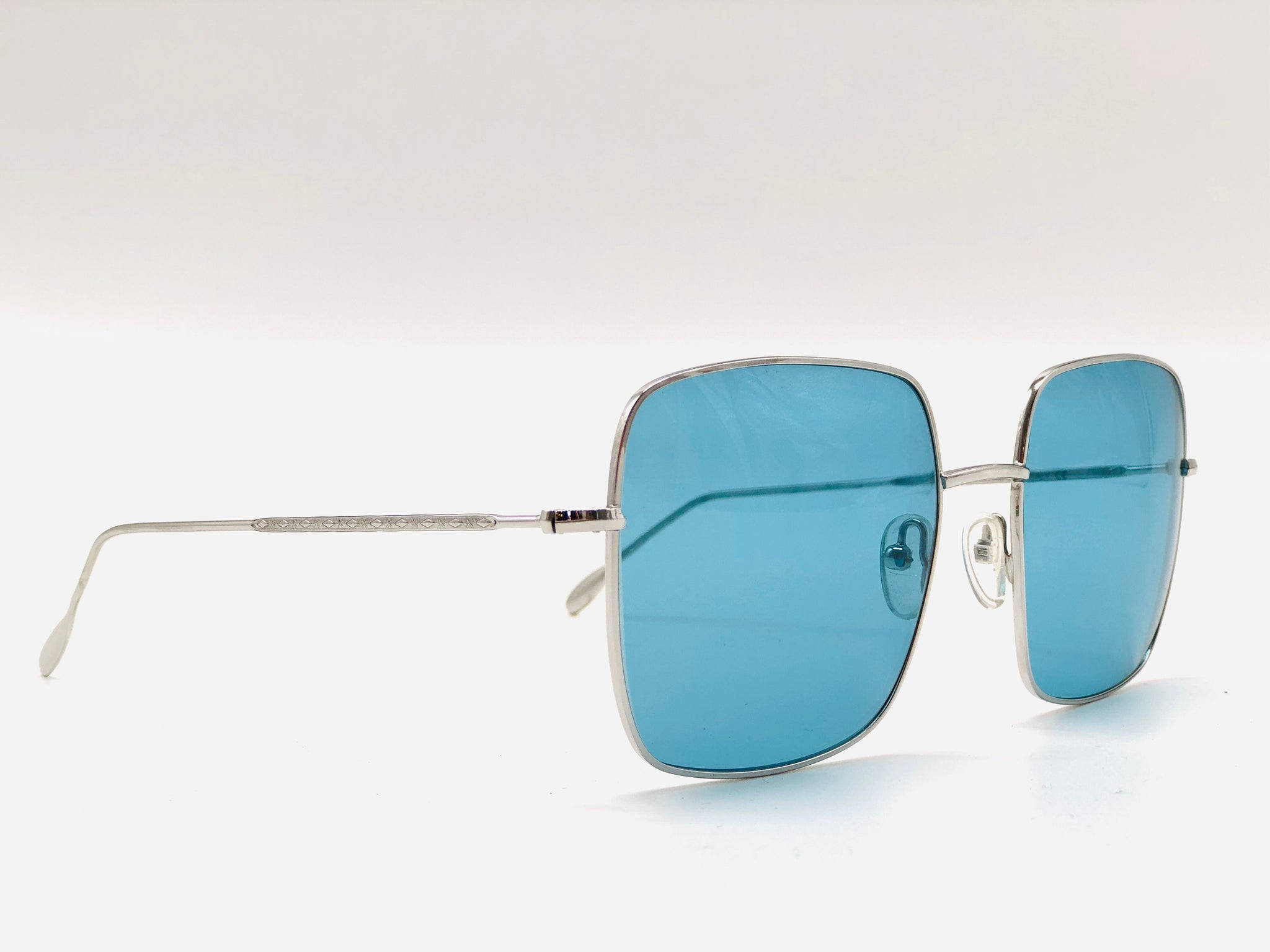 STAR metal silver square-shaped clear blue lenses sunglasses