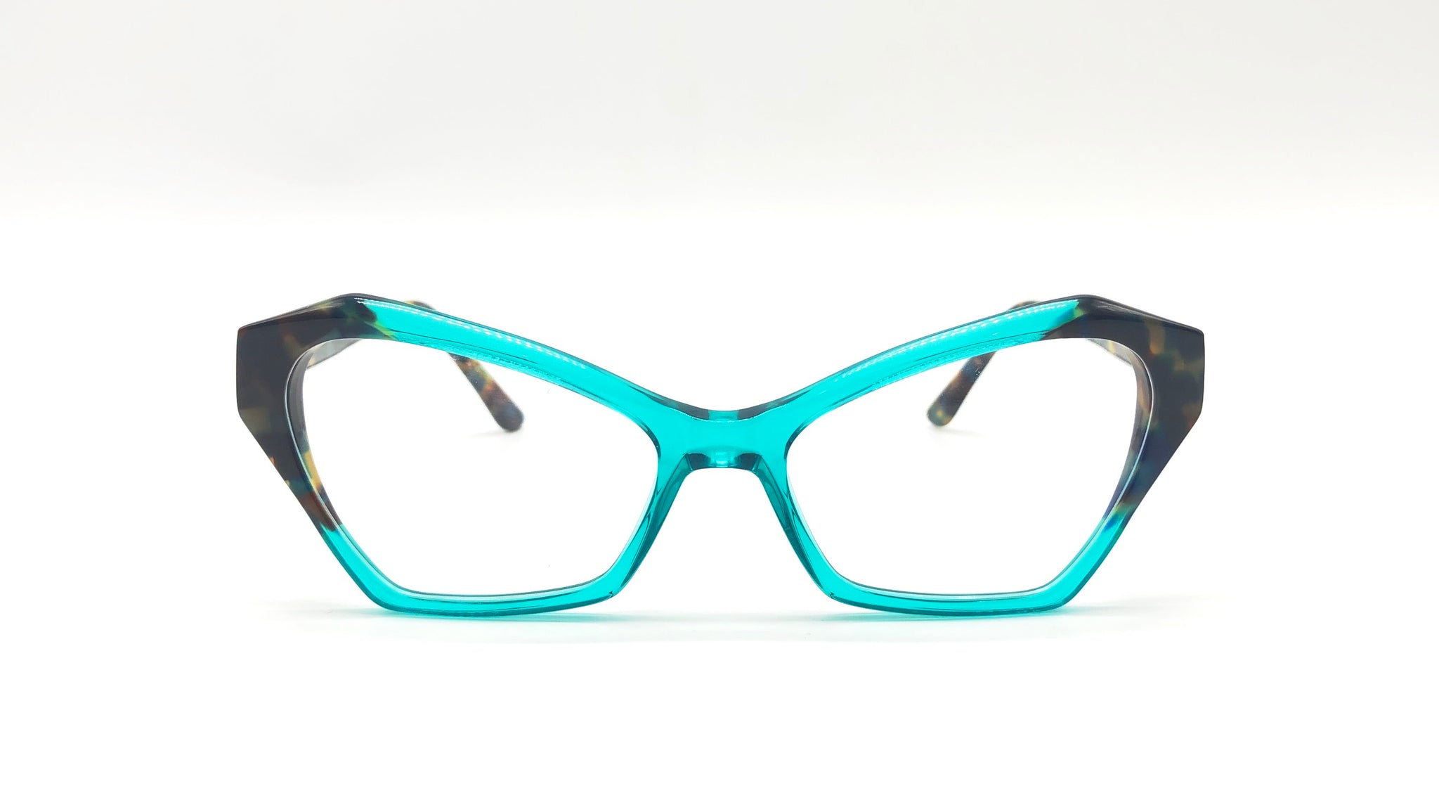 VANDA semi-transparent clear blue/tortoiseshell temples cat eye eyeglasses