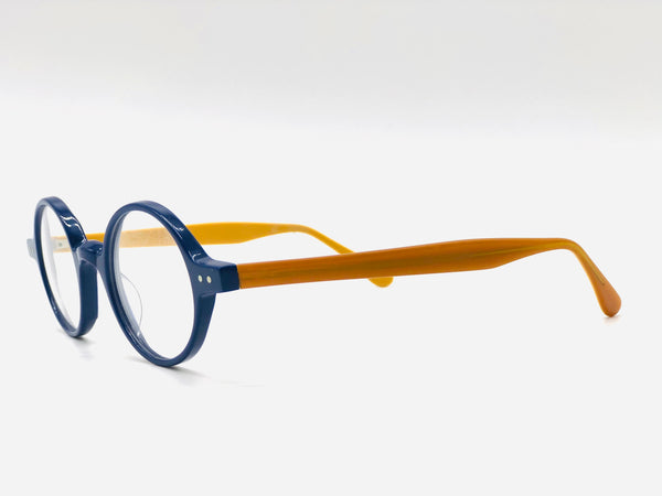 Round Pantoscopic Blue Eyeglasses