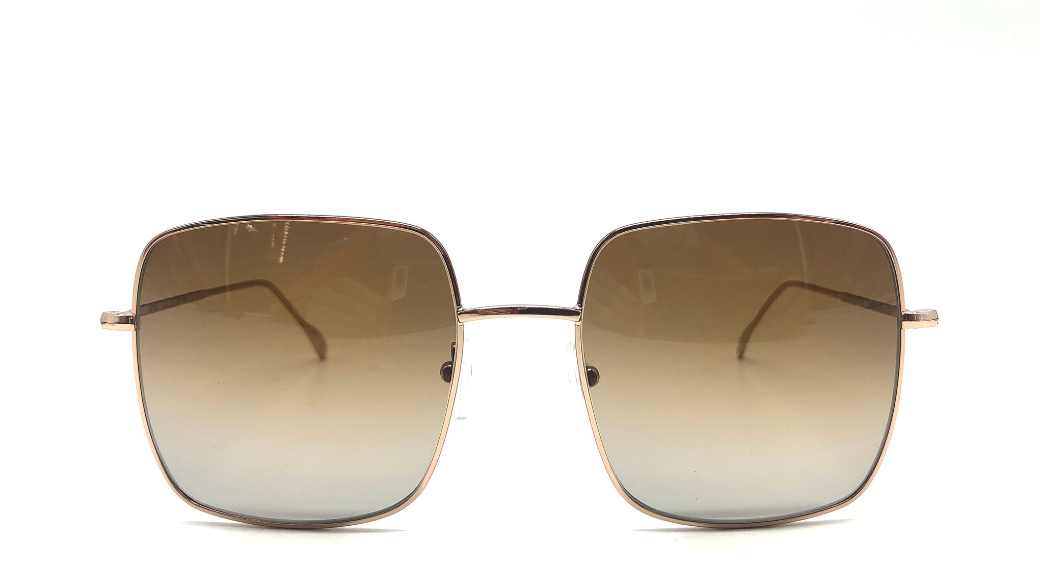 KIM metal gold square-shaped shaded brown lenses sunglasses