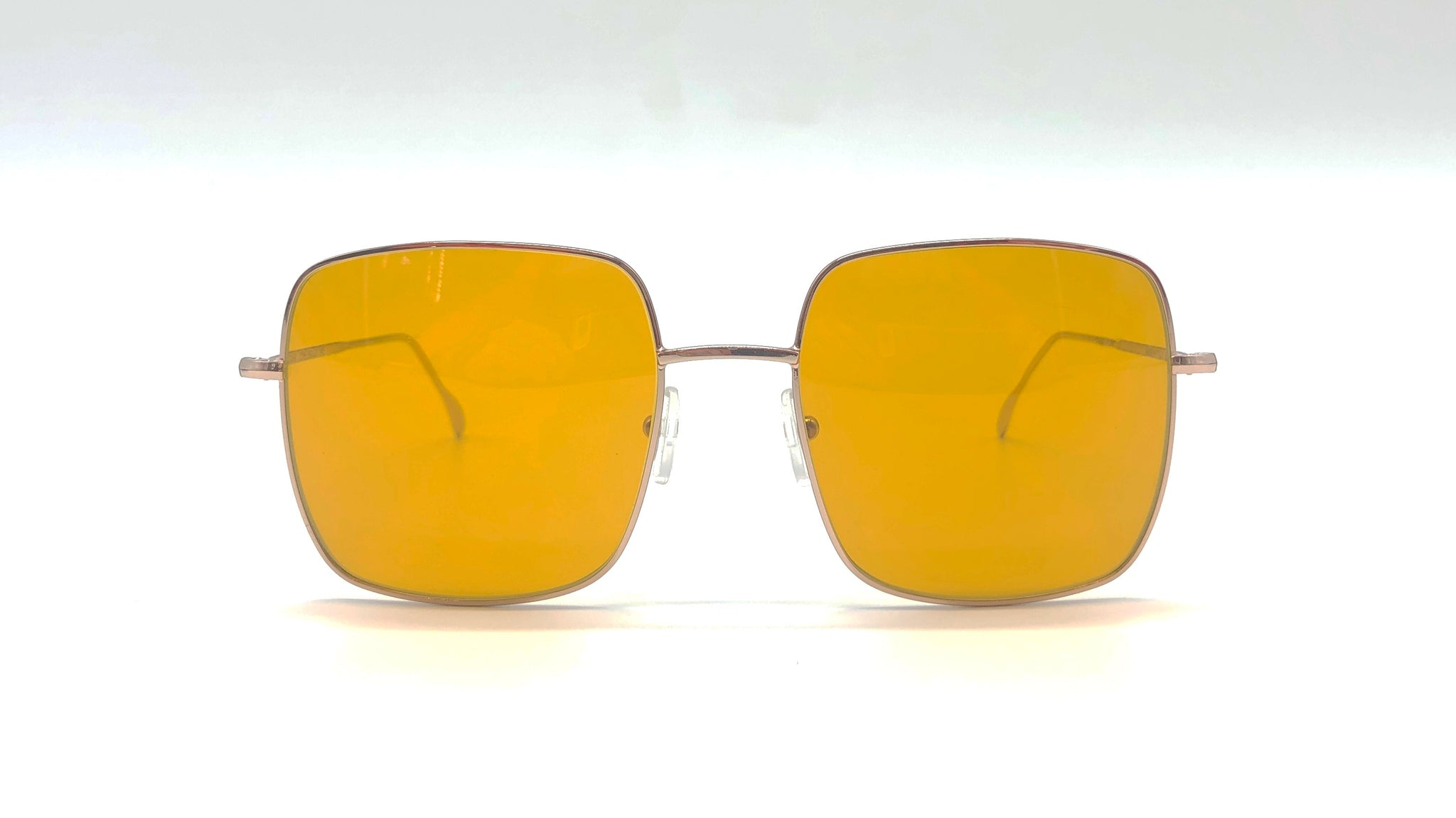 STAR metal gold square-shaped yellow lenses sunglasses