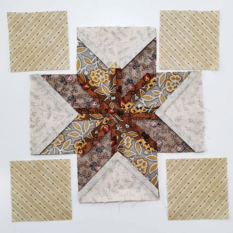 Pieced and pressed center of Lemoyne stars | Sharon Keightley Quilts
