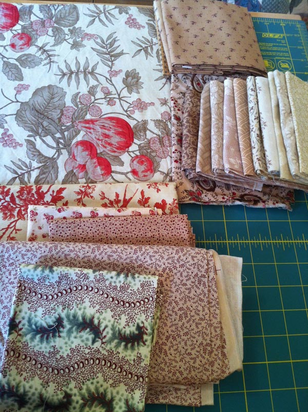 Fabrics chosen for my Neutral Quilt