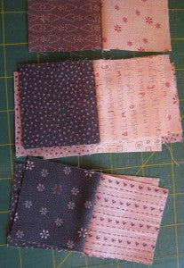Sewing the squares into pairs.