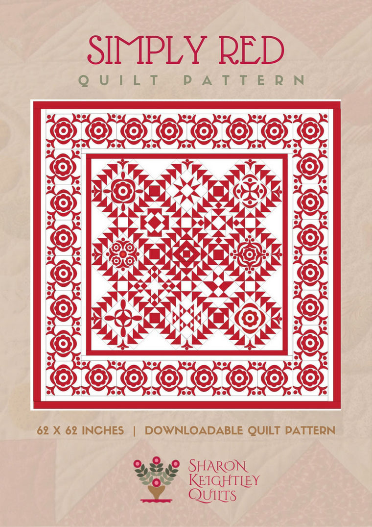 Simply Red Quilt Complete Pattern Set - Pine Valley Quilts