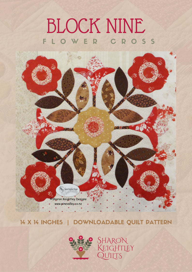 Winterwood Quilt Pattern BOM | Flower Cross | Block Nine - Pine Valley Quilts