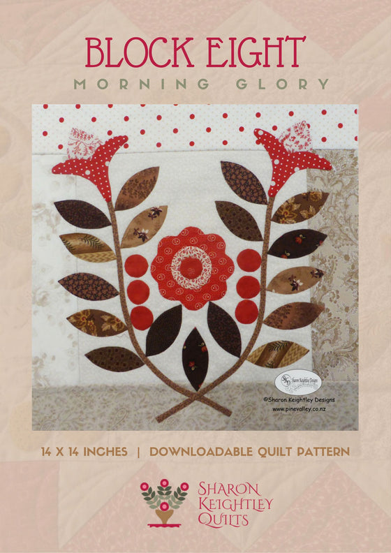 Winterwood Quilt Pattern BOM | Morning Glory | Block Eight - Pine Valley Quilts