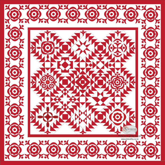 Simply red quilt pattern bom block seven sharon for Red door design quilts