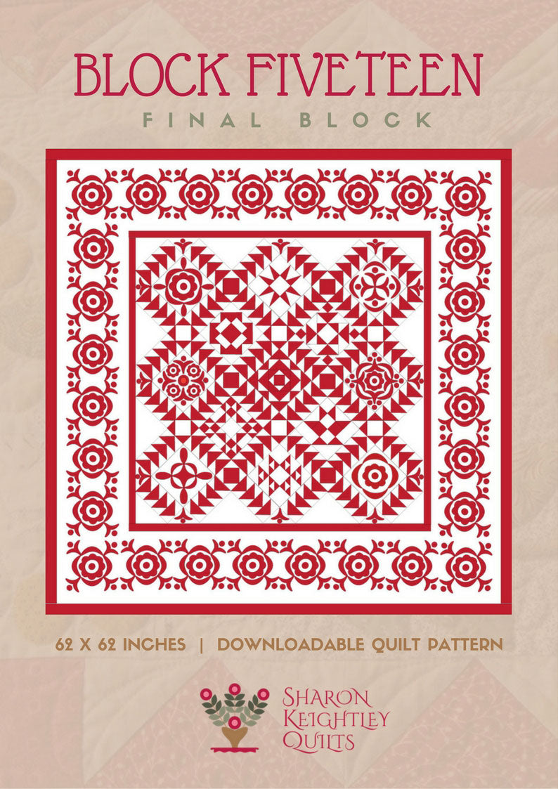 Simply Red Quilt Block Fifteen - Pine Valley Quilts