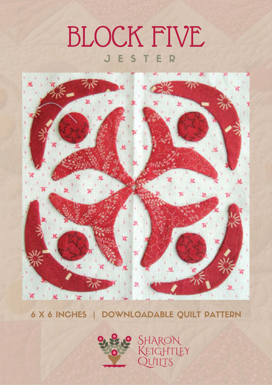 Simply Red Quilt Pattern BOM Block Five - Pine Valley Quilts