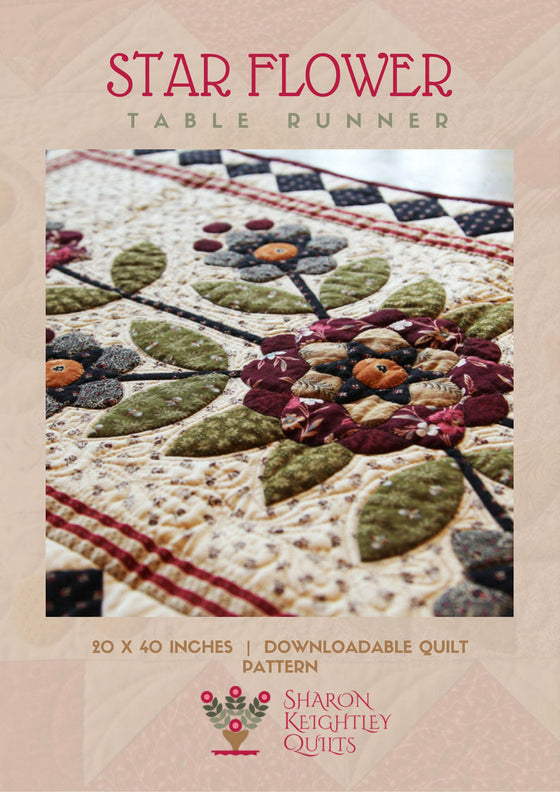 Star Flower Table Runner Quilt | Sharon Keightley Quilts