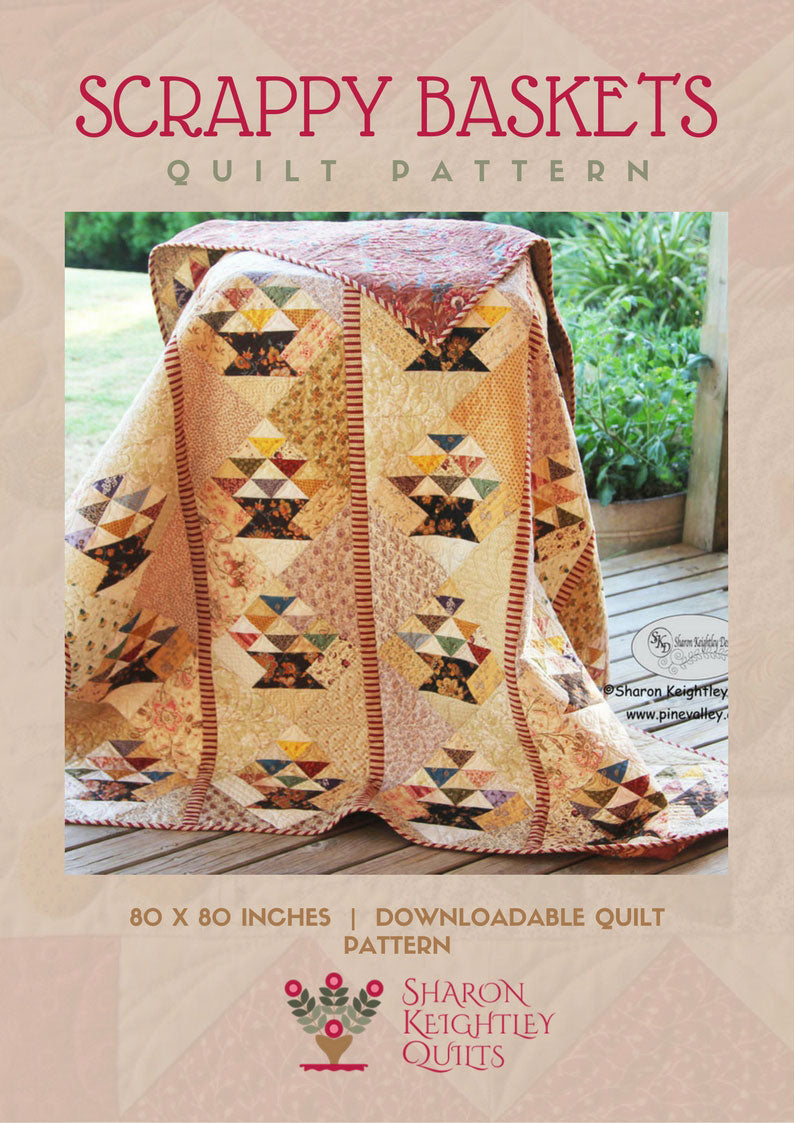 Scrappy Baskets Quilt Pattern - Pine Valley Quilts