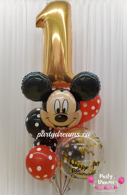 Deluxe Mickey Mouse Jumbo Number Birthday Balloon Bouquet #36