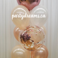 Bespoke Rose Gold Confetti Bubble Balloon Bouquet #CH22