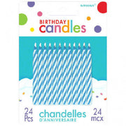 Blue Candy Stripe Spiral Candles 24ct