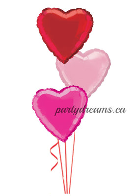 3 Foil Hearts Balloon Bouquet