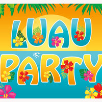 Tropical Island Luau Wall Banner