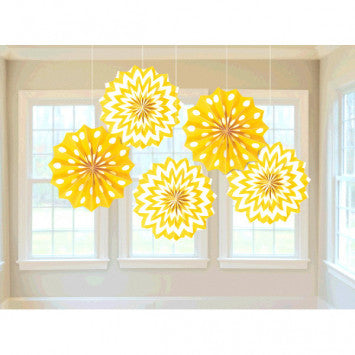 Printed Paper Fans - Yellow Sunshine