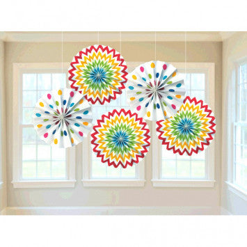 Printed Paper Fans - Rainbow