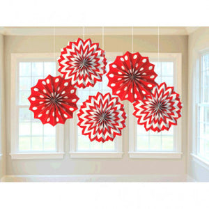 Printed Paper Fans - Apple Red