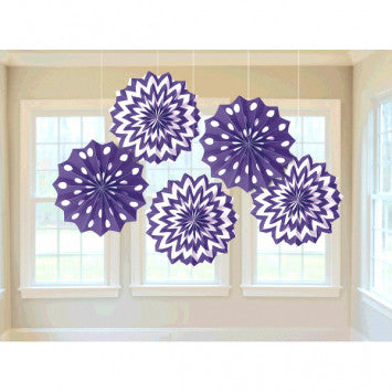 Printed Paper Fans - New Purple