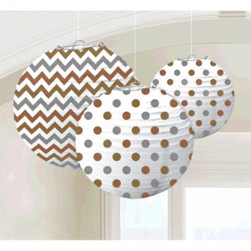 Round Printed Paper Lanterns - Mixed Metallic