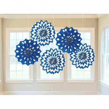 Printed Paper Fans - Bright Royal Blue