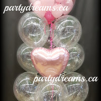 """Sparkles of Love"" Bubble Balloon Bouquet with Plush Bear Set #BL07"