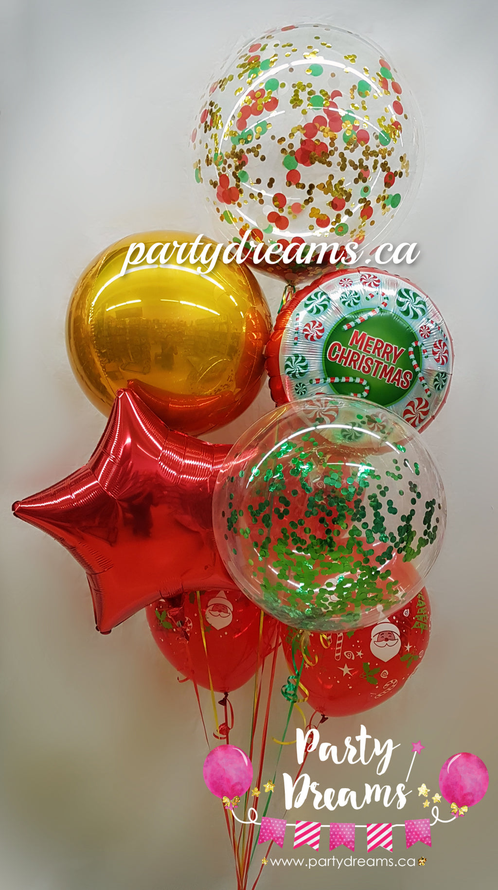"""Holiday Classic"" Christmas Balloon Bouquet #CHS02"