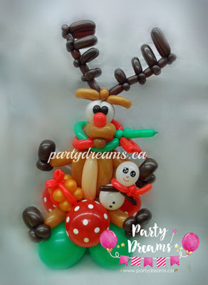 Christmas Reindeer with Snowman Centerpiece (Small) #CH6