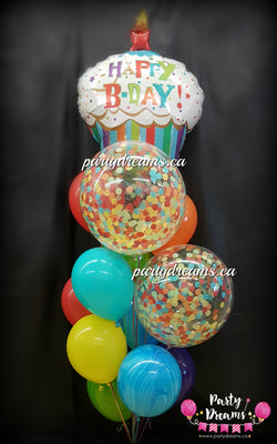 Birthday Cupcake Confetti Balloon Bouquet #CH19