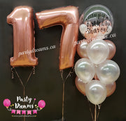 Jumbo Number & Custom Vinyl Bespoke Bubble Balloon Bouquet Set #SA01