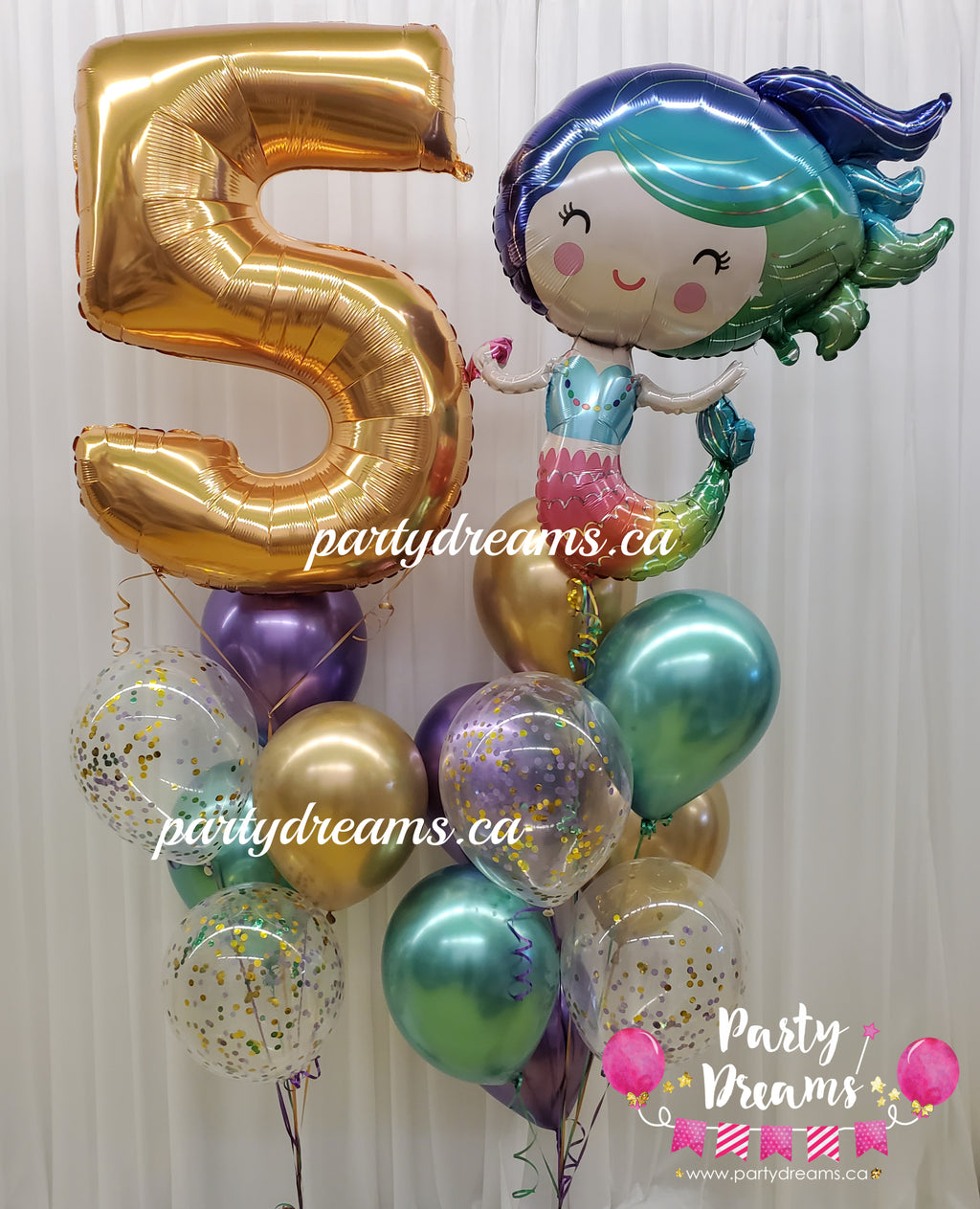 Deluxe Mermaid & Jumbo Number Birthday Balloon Bouquet #JM81