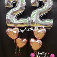 Jumbo Number with Heart Balloon Bouquet Set #JN83