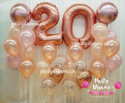 Rose Gold Jumbo Number Birthday Balloon Bouquet Set #105