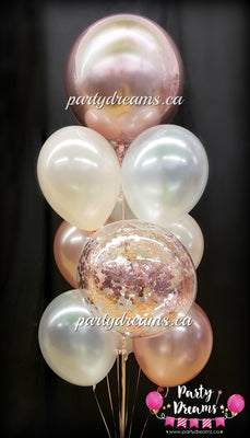 Rose Gold Confetti Bubble Balloon Bouquet #CH18